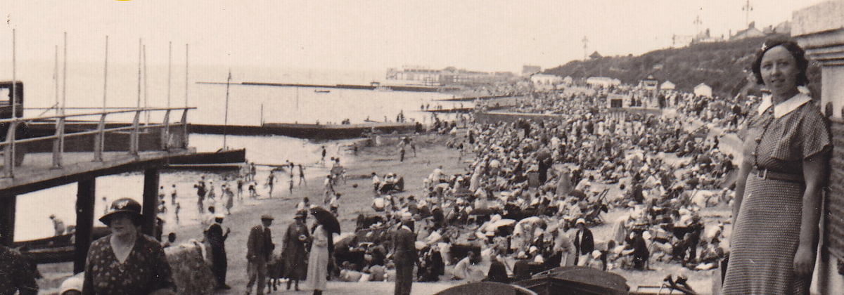Marjorie's day by the seaside, Clacton-on-Sea, July 1935
