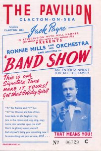 Poster with white background, red & blue font, black & white photo of Ronnie Mills pointing directly into camera; 'That meands you!' advertsing Ronnie Mills and his Orchestra Band Show | not known