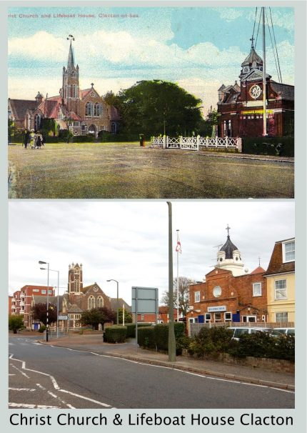 Christ Church & Lifeboat House Clacton Then & 2017