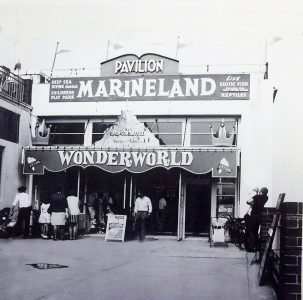 Entrance doorway to Marineland at the Pavilion in front of the Clacton Pier