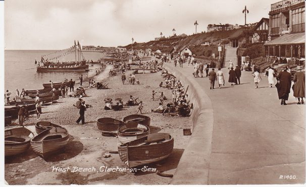 Rowing boats, West Beach, Clacton-on-Sea public walking around beach | Sourced by Roger Kennell, Clacton & Local District History Society