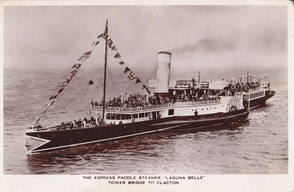 Postcard of the express steamer, Laguna Belle | Sourced by Roger Kennell, Clacton & District Local History Society