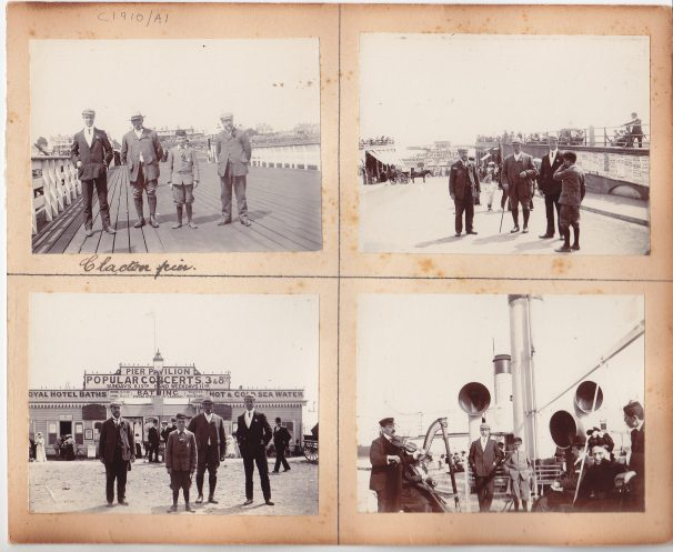 Group of friends and lad on Clacton Pier 1910s | Sourced by Roger Kennell, Clacton & District Local History Society