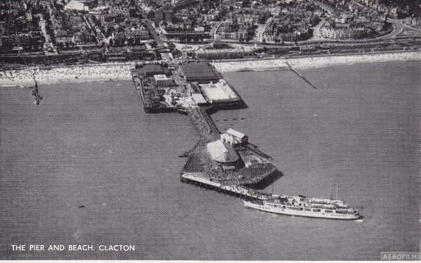 Aerial photo of Queen of Channel at Clacton Pier | Sourced by Roger Kennell, Clacton & District Local History Society