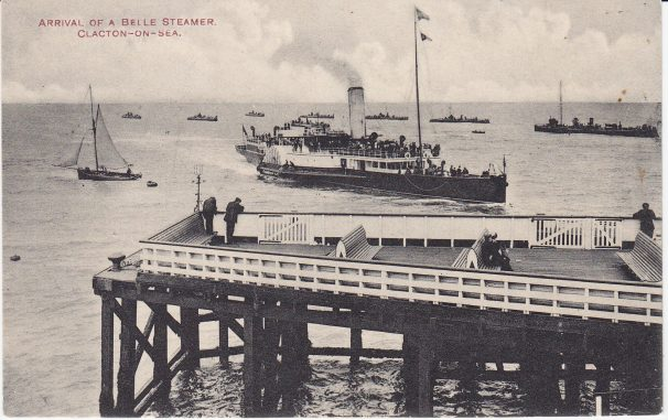 Belle pleasure steamer arriving at Clacton Pier amongst Navy Ships | Sourced by Roger Kennell, Clacton & District Local History Society