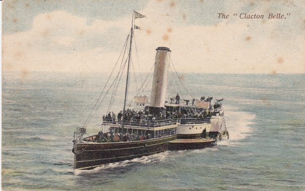 Colour-tinted postcard of Clacton Belle steamer | Sourced by Roger Kennell & Clacton & District Local History Society