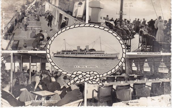 Postcard of room aboard Daffodil steamer, social drinking and sitting scenes | Sourced by Roger Kennell, Clacton & District Local History Society