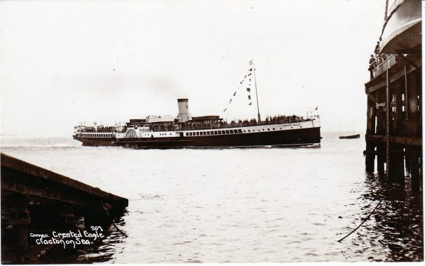 Crested Eagle steamer arrives at Clacton Pier, 1930s | Sourced by Roger Kennell, Clacton & District Local History Society