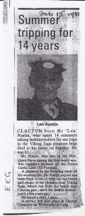 Press cutting for Len Austin, boatman on Viking Saga | Sourced by Roger Kennell, Clacton & District Local History Society