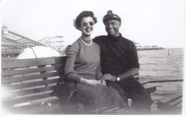 Dick Harman, Captain of Viking Saga with passenger 'KK', local resident, sister of Roger Kennell | Sourced by Roger Kennell, Clacton & District Local History Society
