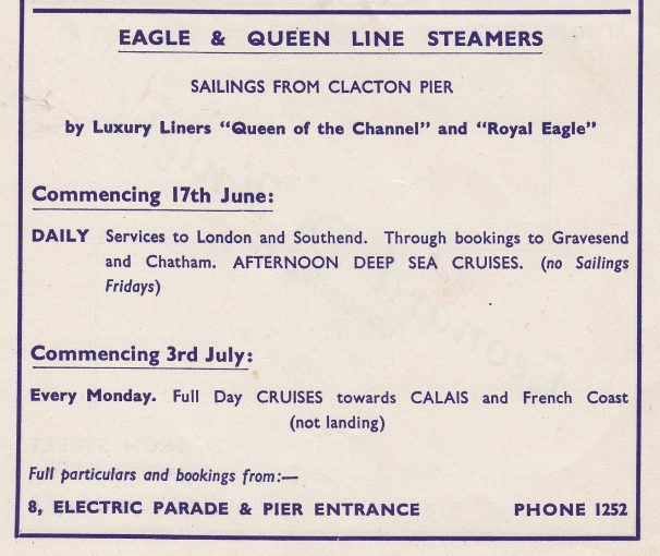 Luxury Steamer Adverts | Sourced by Roger Kennell, Clacton & District Local History Society