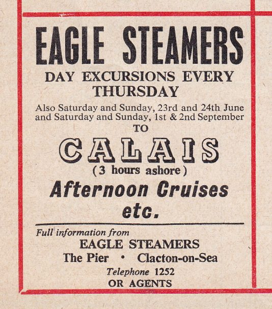 Eagle Steamers advert to Calais | Sourced by Roger Kennell, Clacton & District Local History Society