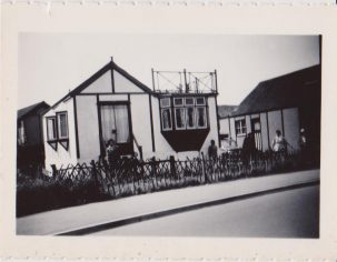 Black & white photo of holiday chalet | Mrs Edna Randall