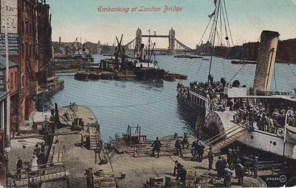 Colour tinted postcard of steamer with crowds embarking at London Bridge | Sourced by Roger Kennell, Clacton & District Local History Society