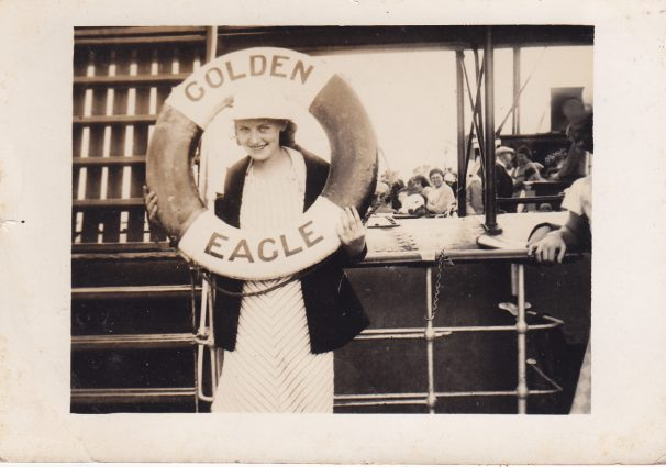 Golden Eagle boat with female passenger peering through a lifebelt 1938 | Sourced by Roger Kennell, Clacton & District Local History Society