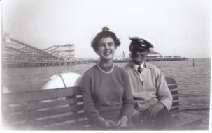 Female passenger sitting with boatman on Viking Saga | Sourced by Roger Kennell, Clacton & District Local History Society