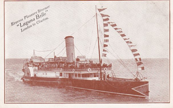 Postcard of pleasure steamer, Laguna Bell, bunting on mast | Sourced by Roger Kennell, Clacton & District Local History Society