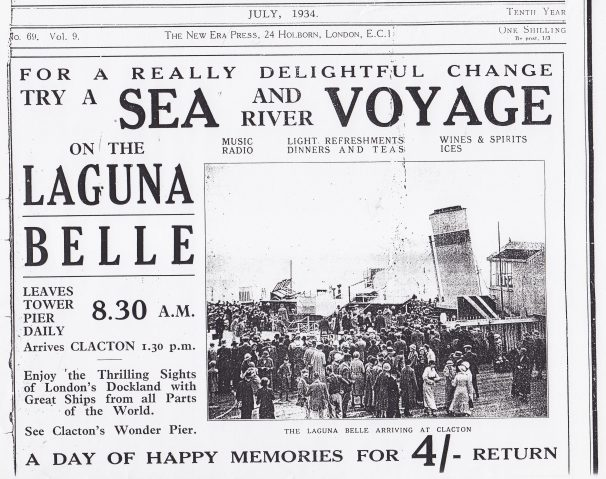 Press cutting 'For a really delightful change try a sea and river voyage on the Laguna Belle | Sourced by Roger Kennell, Clacton & District Local History Society
