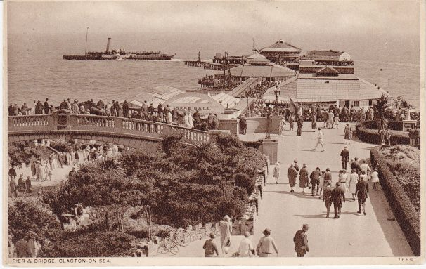 View of steamer, pier, Venetian bridge, Clacton, people | Sourced by Roger Kennell, Clacton & District Local History Society