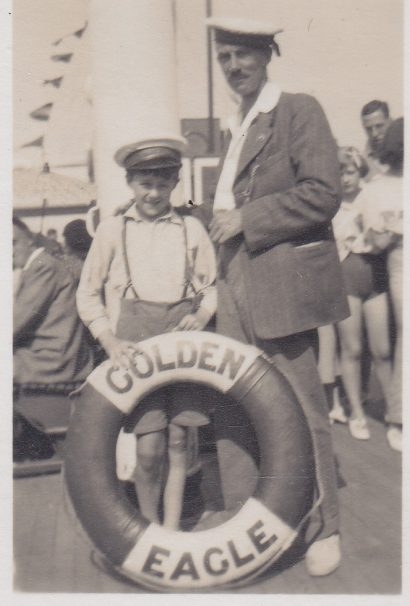 Father & son pose for photo aboard the Golden Eagle | Sourced by Roger Kennell, Clacton & District Local History Society