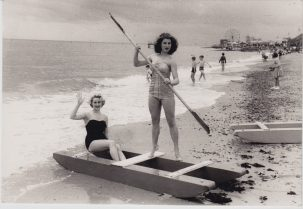Two beauty queens promoting Clacton's paddle boats | Sourced by Roger Kennell, Clacton & District Local History Society