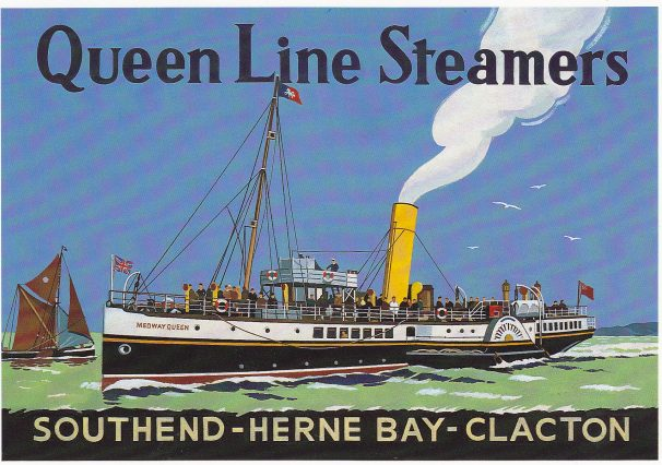 Colourful blue, green, black poster of Queen Line Steamers advertising Southend, Herne Bay, Clacton | Sourced by Roger Kennell, Clacton & District Local History Society