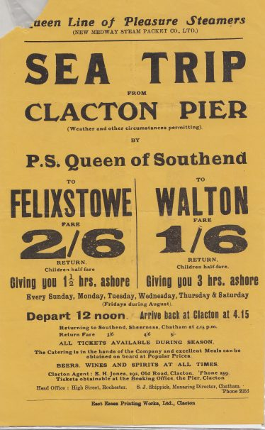 Advert for Queen Line Pleasure Steamers | Sourced by Roger Kennell, Clacton & District Local History Society