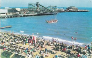 Nemo II pleasure boat departing with passengers off Clacton beach beside the Pier | Sourced by Roger Kennell, Clacton & District Local History Society