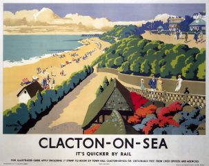 Scenic beach and cliff with holidaymakers strolling   Science & Society Picture Library copyright