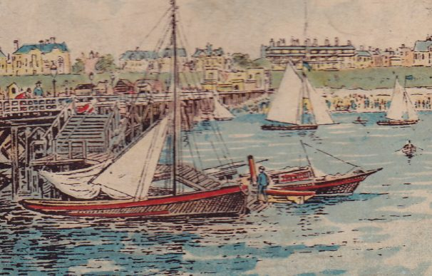 Watercolour of wherry boats off Clacton Pier | Sourced by Roger Kennell, Clacton & District Local History Society