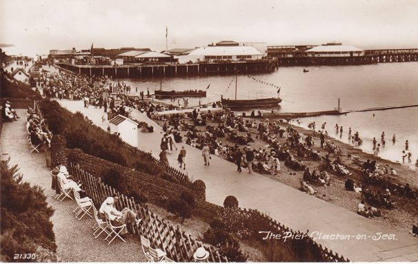 Two boats moored near Clacton Pier c. 1935 | Sourced by Roger Kennell, Clacton & Local District History Society