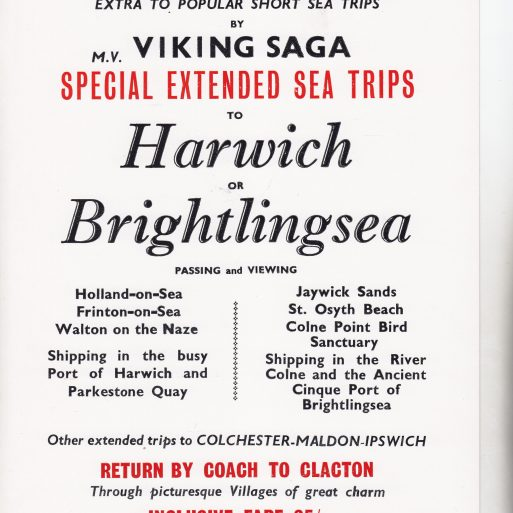 Viking Saga to Harwich or Brightlingsea Advertisement | Sourced by Roger Kennell, Clacton & District Local History Society