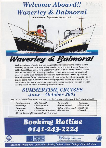 Timetable for Waverley & Balmoral summertime cruises, 2001 | Sourced by Roger Kennell, Clacton & District Local History Society