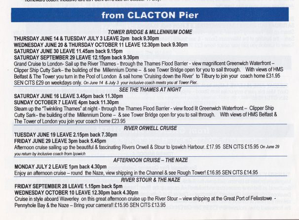 Timetable for Waverley boat trips to Millennium dome, 2001 | Sourced by Roger Kennell, Clacton & District Local History Society
