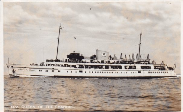 B&W postcard of Motor Vessel Queen of the Channel | Sourced by Roger Kennel & Clacton & District Local History Society