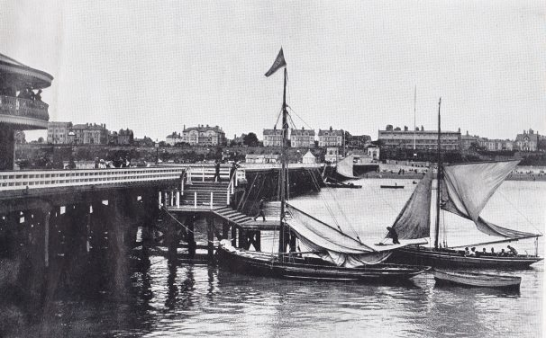 Looks like flat bottomed wherry boats moored off Clacton Pier | Sourced by Roger Kennell, Clacton & District Local History Society