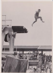 Clown diver skipping into the swimming pool, Clacton Pier pool | Photo donated by Tendring District Council