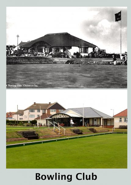 Clacton-on-Sea Bowling Club Marine Parade West as it was with a thatched roof and with a tiled roof in 2017 | Terry Hutchinson