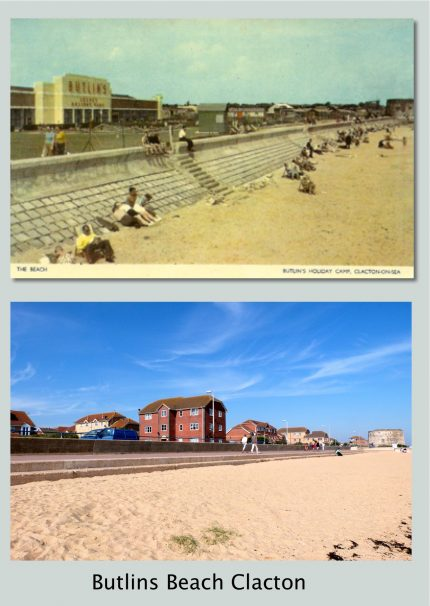 The beach at Martello Bay when it was Butlin's and as it was in 2017 with houses on the site of Butlin's | Terry Hutchinson