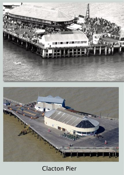 An aerial photo of Clacton Pier Then & 2017 | Terry Hutchinson