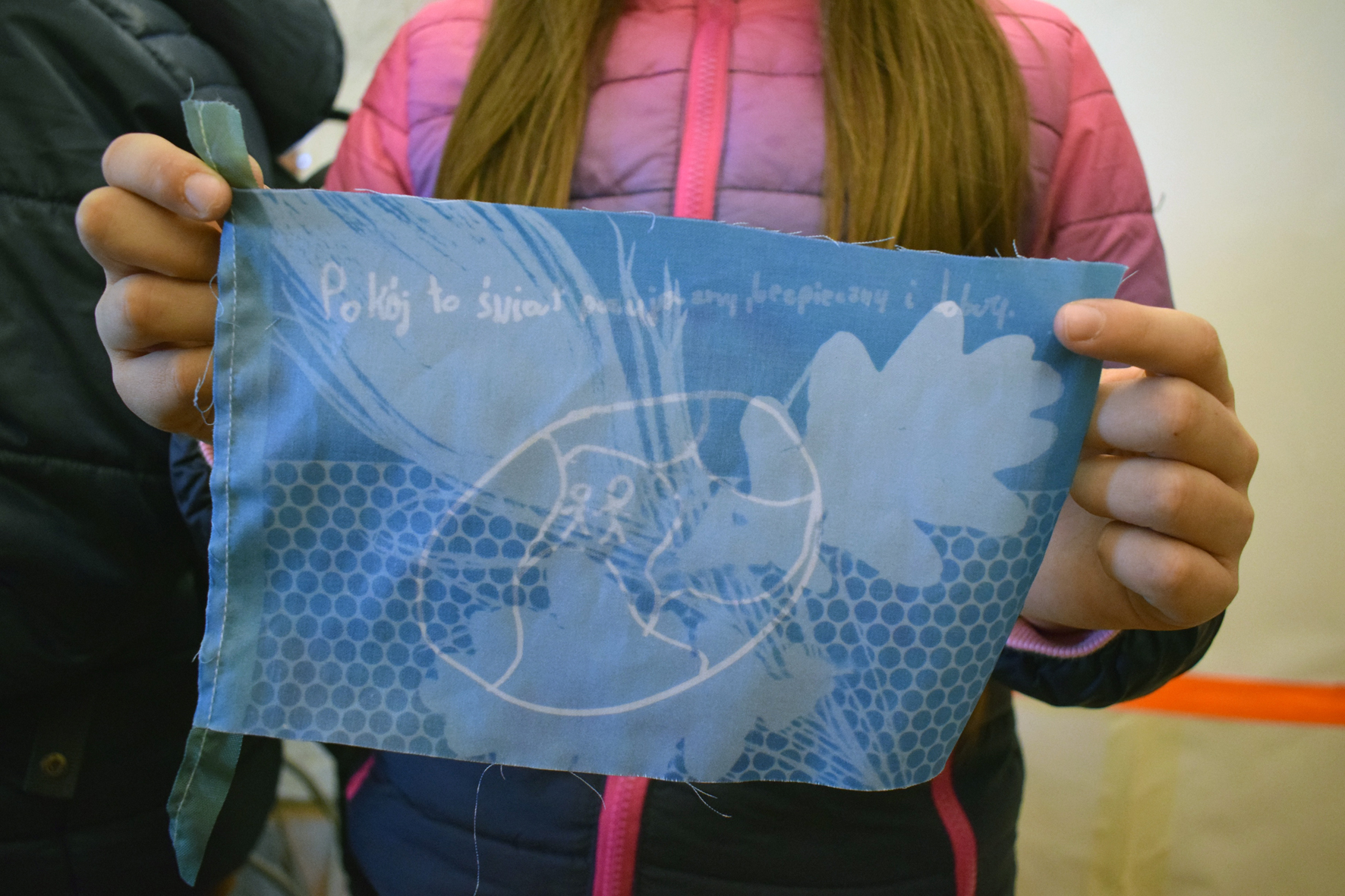 Printing Bunting for Peace a Cyanotype Workshop