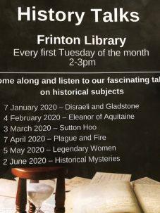 History Talks for Frinton Library 2020 | courtesy of A. Barrett